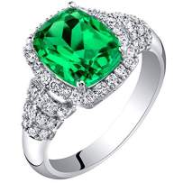 14K White Gold Created Colombian Emerald and Lab Grown Diamond Ring 3.29 carats total Cushion Cut