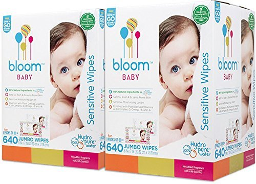 """Baby Wipes by bloom BABY   Unscented   For Sensitive Skin   Formulated for Diaper Area   Water-Based   Infused with Plant-Derived Vitamins   Hypoallergenic   Textured & Thick 8""""x7"""" Wipes   1280 Count"""