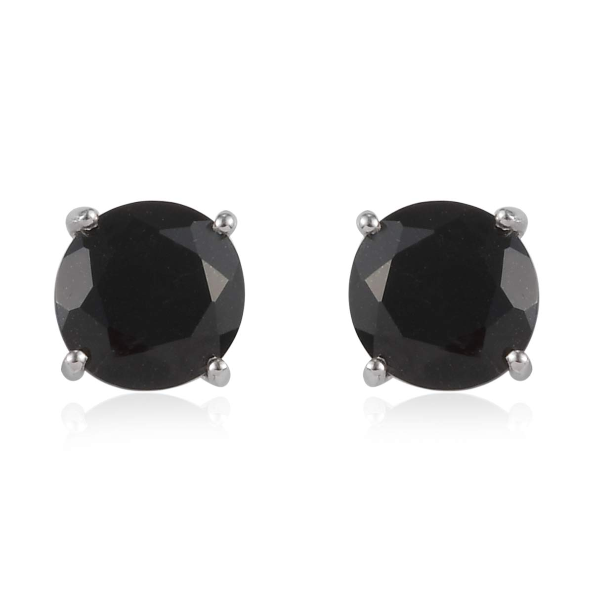 925 Sterling Silver Platinum Plated Round Black Tourmaline Spinel Stylish Stud Solitaire Earrings for Women Fashion Jewelry Cttw 5.7