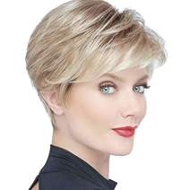 BECUS Highlight Ombre Roots Brown Mixed Blonde Short Pixie Cut Wig with Bangs Heat Resistant Synthetic Realistic Layered Fluffy Silky Straight Wigs for Women with Wig Cap