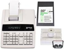 Monroe Systems for Business New 6120X 12-Digit Print/Display Medium-Duty Calculator With Paper, Ribbons and Foam Elevation Wedge (Calculator With Ribbons, Paper and Foam Wedge, Ivory)