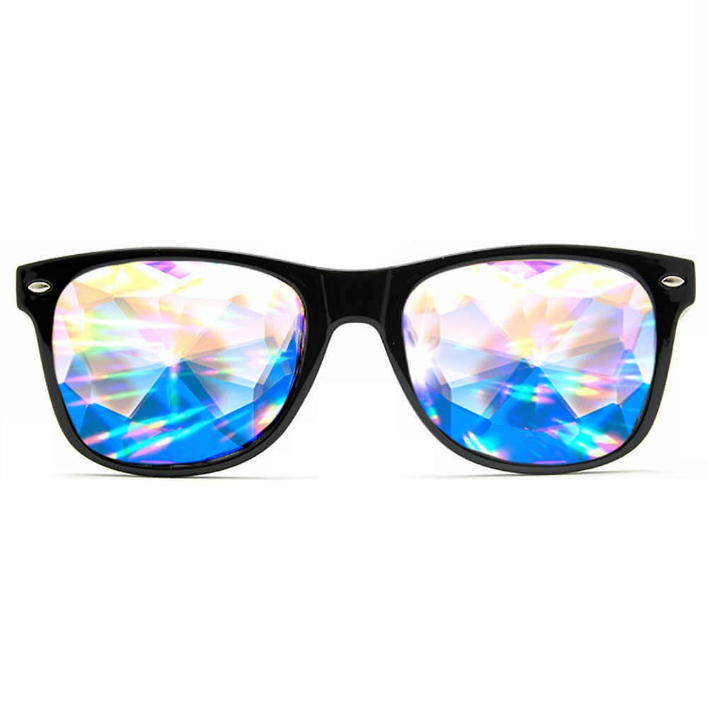 GloFX Ultimate Kaleidoscope + Diffraction Glasses – Black - Rave Rainbow EDM Diffraction Festival Eyewear Edge Cut Bug Eye