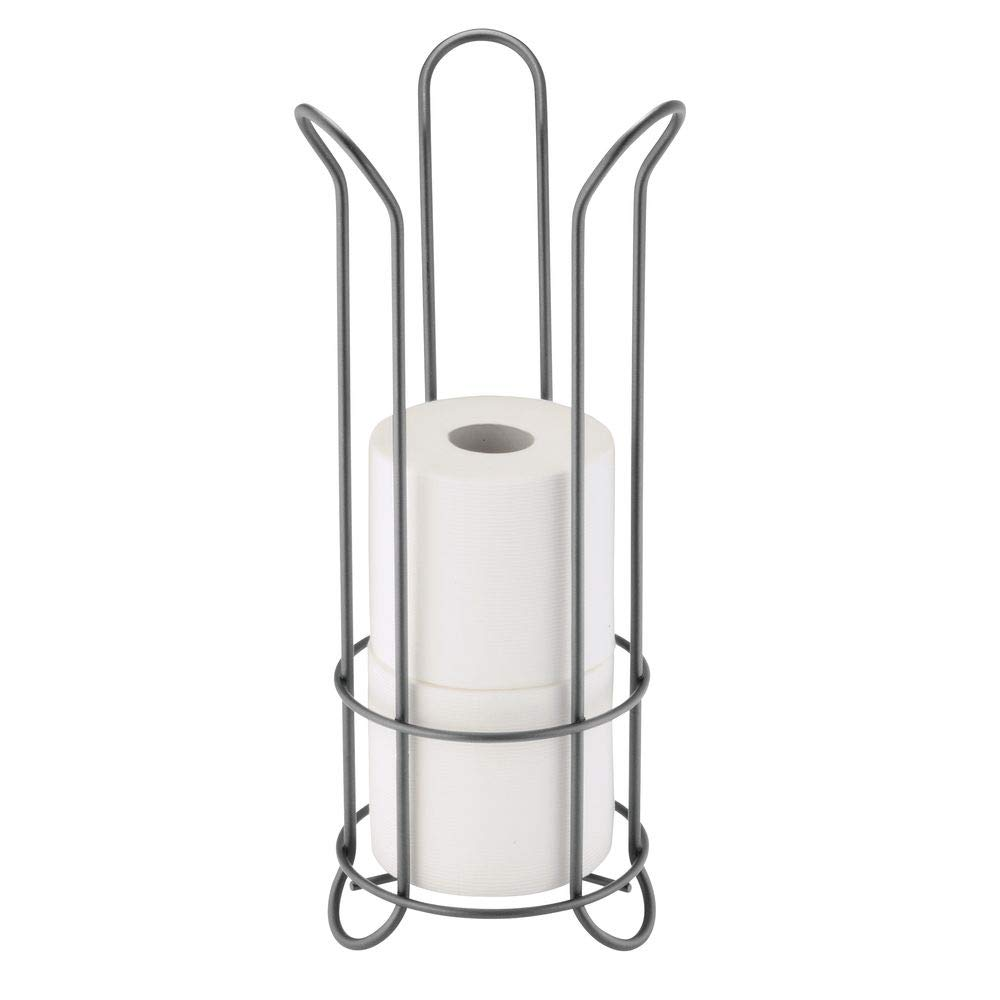 mDesign Decorative Metal Free Standing Toilet Paper Holder Stand with Storage for 3 Rolls of Toilet Tissue - for Bathroom/Powder Room - Holds Regular and Mega Rolls - Graphite Gray