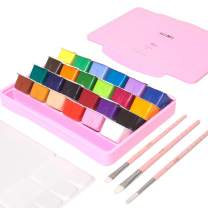 Miya Gouache Paint Set, 24 Colors x 30ml Unique Jelly Cup Design with 3 Paint Brushes in a Carrying Case Perfect for Artists, Students, Gouache Opaque Watercolor Painting (Pink)