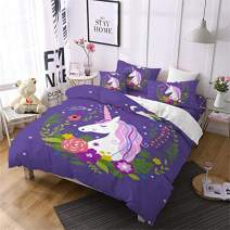 Jessy Home Duvet Cover 2 Piece Twin Size Rainbow Unicorn Cute Quilt Cover for Girls Children Gift Cartoon 3D Bedding Set Purple (1Pillow Cases)