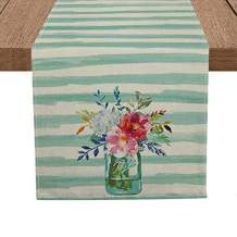 Artoid Mode Watercolor Stripes Spring Flower Bottle Table Runner, Seasonal Spring Holiday Kitchen Dining Table Runner for Home Party Decor 13 x 108 Inch
