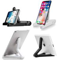LIPROFE 2 Pack Cell Phone Stand Phone Dock Cradle Holder Foldable Adjustable Height Angle for All Phones Tablets with Anti-Slip Base Black White