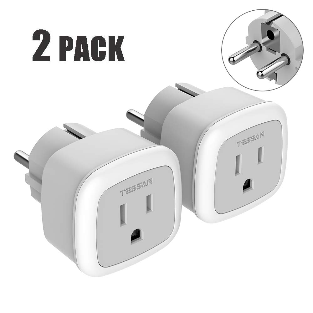 Germany France Travel Power Adapter Plug,TESSAN Type E/F Schuko Outlet Charger Adaptor for USA to Europe Russia Iceland Spain Greece Korea Norway(2 Pack)