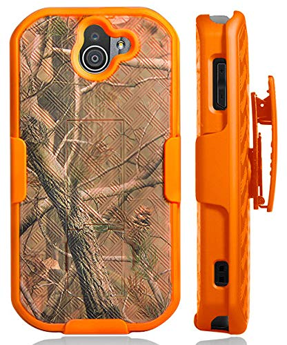 Duraforce Pro 2 Case with Clip, Nakedcellphone [Orange Camouflage] Outdoor Tree Leaf Real Woods Camo Cover with Kickstand [Rotating/Ratchet] Belt Hip Holster for Kyocera Duraforce Pro-2 Phone (E6910)