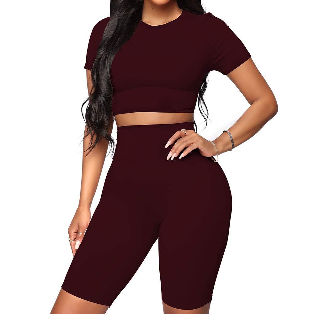 FeelinGirl Women's Sexy 2 Piece Outfit Crop Top Bodycon High Waist Shorts