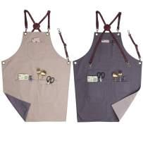 VANTOO Professional Double-Side Colors Dual Use Cotton Apron with 4 Pockets for Men Women, Painting Salon Grill BBQ Restaurant Apron- Adjustable Leather Neck & Waist Strap (Khaki & Grey)