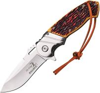 Elk Ridge - Outdoors Spring Assisted Folding Knife, 4.75-in Closed, 3.5-in Stainless Steel Blade, Brown Wood Handle, Black Bolster, Leather Lanyard, Pocket Clip - Hunting, Camping, Survival, EDC - ER-A003I