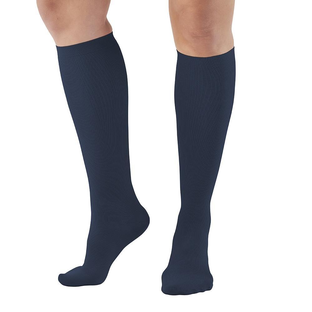 Ames Walker AW Style 112 Women's Microfiber 15 20mmHg Knee High Socks Navy Large