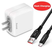 Jiunai OnePlus Dash Charger, 5V 4A Dash Charing Wall Charger Fast Charge Power Rapid Charge 20W Adapter Plug with 6.6ft Data Dash Charging Type C Cable for OnePlus 7 6T 6 5T 5 3T 3 Oppo Find X Black