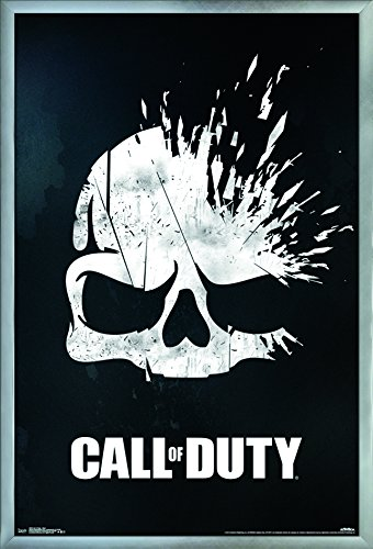 "Trends International Call of Duty - Skull, 22.375"" x 34"", Silver Framed Version"