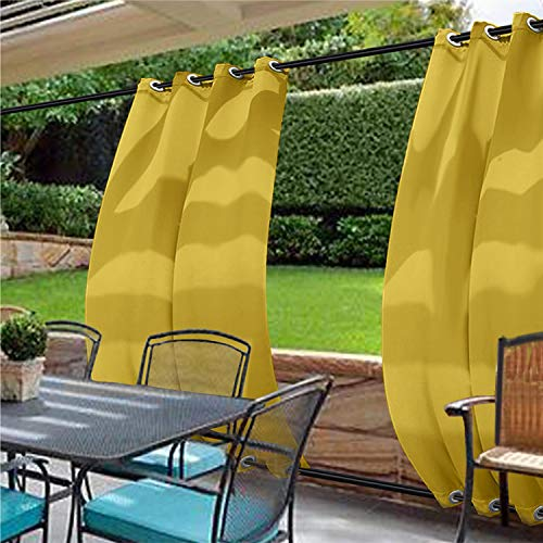 cololeaf Water Repellent Outdoor Decor Panel Grommet at top and Bottom Curtains/Drapes Panels for Patio,Front Porch,Gazebo, Pergola, Cabana, Dock, Beach Home,Yellow 100W x 120L Inch (1 Panel)