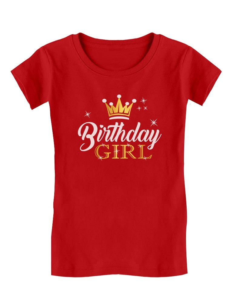 Birthday Girl Party Shirt Princess Crown Girls Fitted T-Shirt