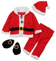 Baby Christmas Santa Claus Fleece Tops Coat+Pants+Hat Shoes Infant New Year Clothes