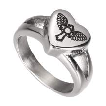 AMIST Cross with Angel Wings Heart Rings for Women Cremation Jewelry Earns for Ashes Dainty Jewelry for Women