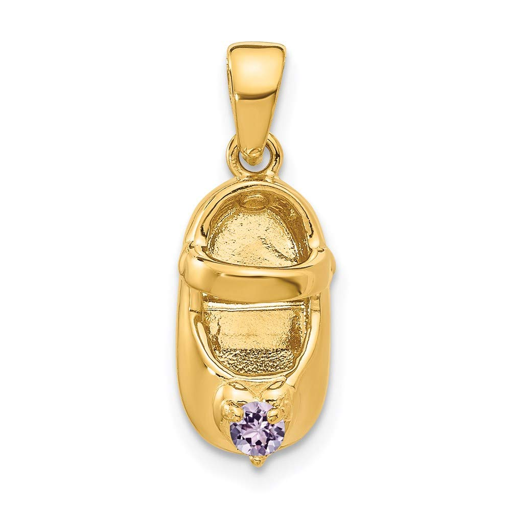 14k Yellow Gold 3 D June Synthetic Stone Engraveable Baby Shoe Pendant Charm Necklace Birthstone Fine Mothers Day Jewelry For Women Gifts For Her