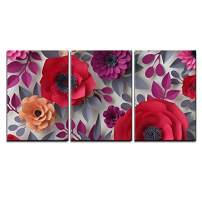 "wall26 - 3 Piece Canvas Wall Art - Illustration - 3D Render, Digital Illustration, Red Pink Paper Flowers, Bridal Bouquet - Modern Home Decor Stretched and Framed Ready to Hang - 16""x24""x3 Panels"