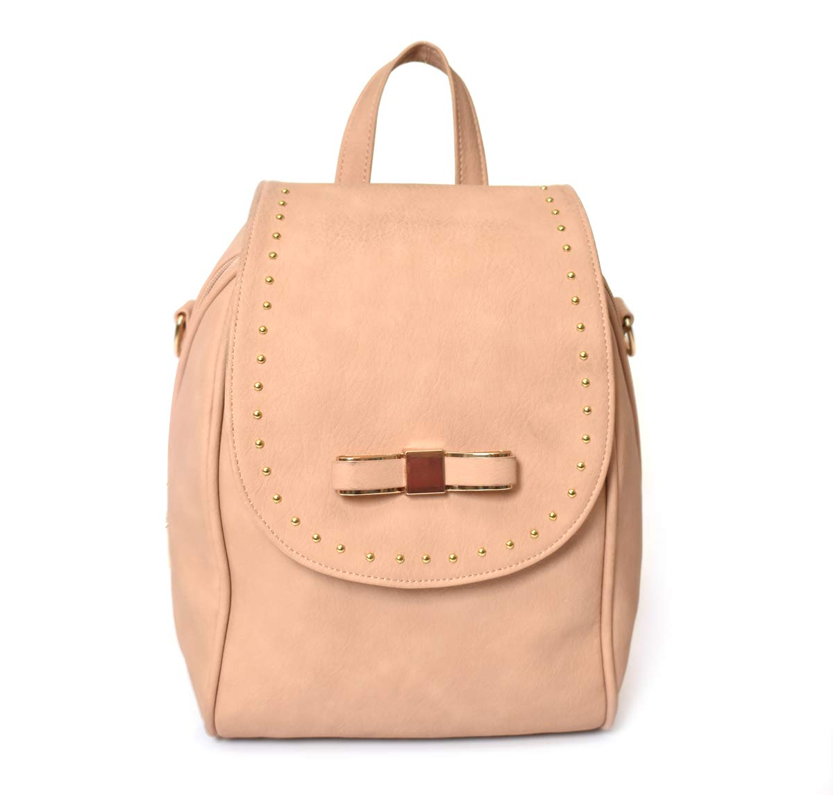 Charming Charlie Women's Backpack w/Bow and Studs - Adjustable Straps, Zipped Main Compartment