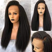Nobel Hair Italian Kinky Straight Human Hair Wigs 360 Lace Frontal Wigs for Black Women -Best Brazilian Virgin Hair Glueless 360 Lace Wig with Baby Hair Natural Color 16Inch