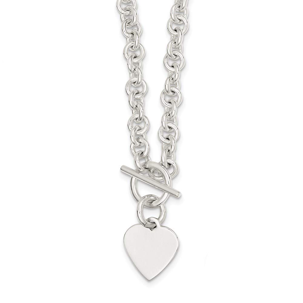 925 Sterling Silver Engraveable Heart Disc On Link Toggle Chain Necklace Pendant Charm S/love Fine Jewelry For Women Gifts For Her