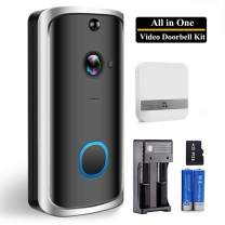 Smart Wireless Video Doorbell Kit with Camera, Equipped with Indoor Chime|32G Memory Card| Two Rechargeable Batteries| Battery Charger(Important)and Install Tool Package Set (Real All in One)