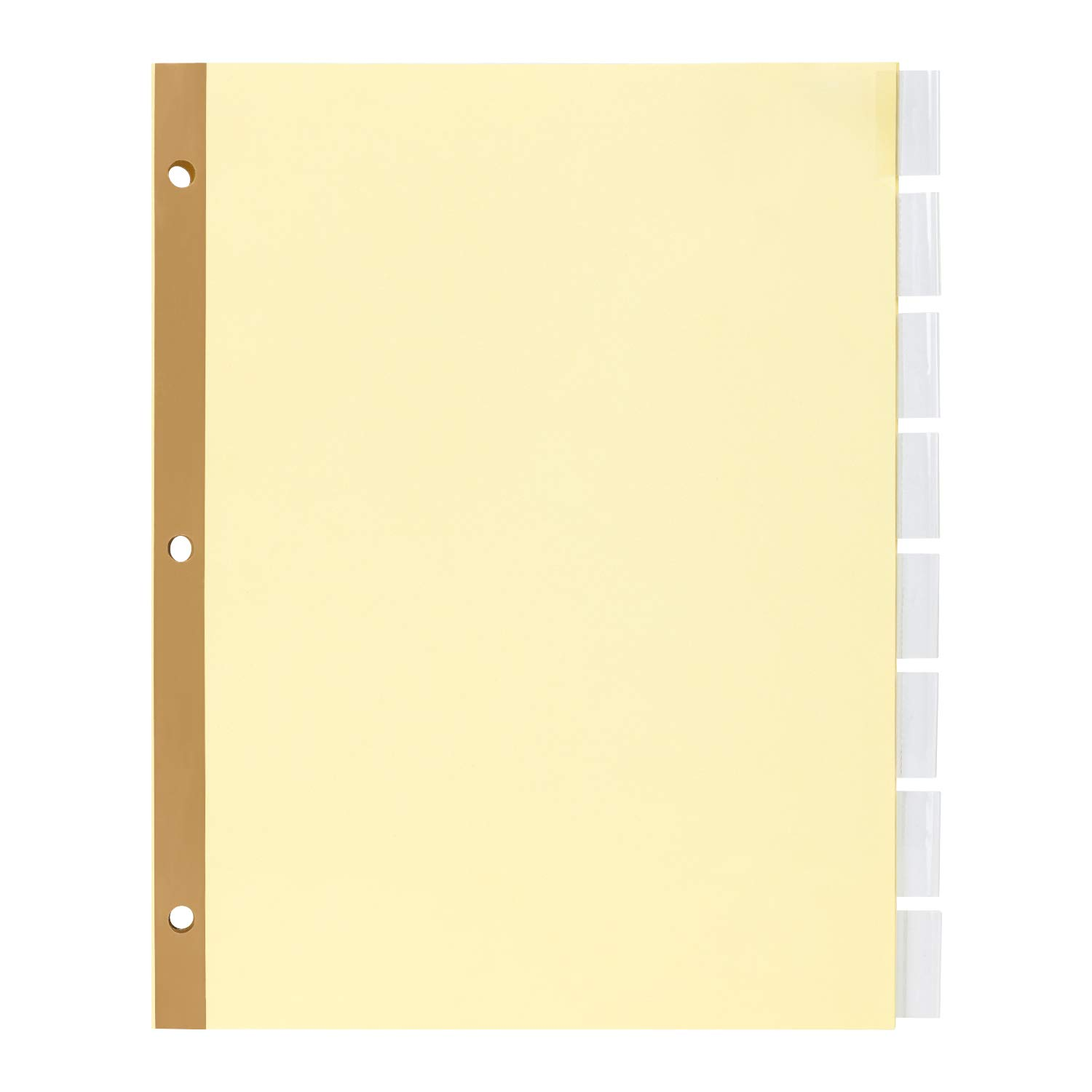 Amazon Basics 8-Tab Paper Binder Dividers , Insertable Clear Tabs, 24 Sets
