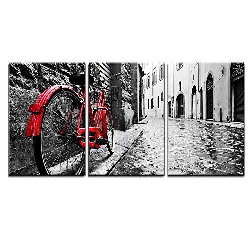 "wall26 3 Piece Canvas Wall Art - Retro Vintage Red Bike on Cobblestone Street in The Old Town - Modern Home Art Stretched and Framed Ready to Hang - 16""x24""x3 Panels"