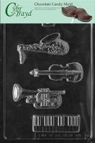 Cybrtrayd Life of the Party J089 Music Kit Keyboard, Saxophone, Trumpet, Cello Base Chocolate Candy Mold in Sealed Protective Poly Bag Imprinted with Copyrighted Cybrtrayd Molding Instructions