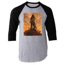 Barbarian by Frank Frazetta Art Black L Raglan Baseball Tee Shirt