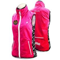 KwikSafety | Charlotte, NC| Firefly Women's Racing Sport Vest | High Performance Recreational Sport Athletic Wear High Visibility Running Cycling Jogging Walking Skiing Sleeveless Jacket | Blue Pink