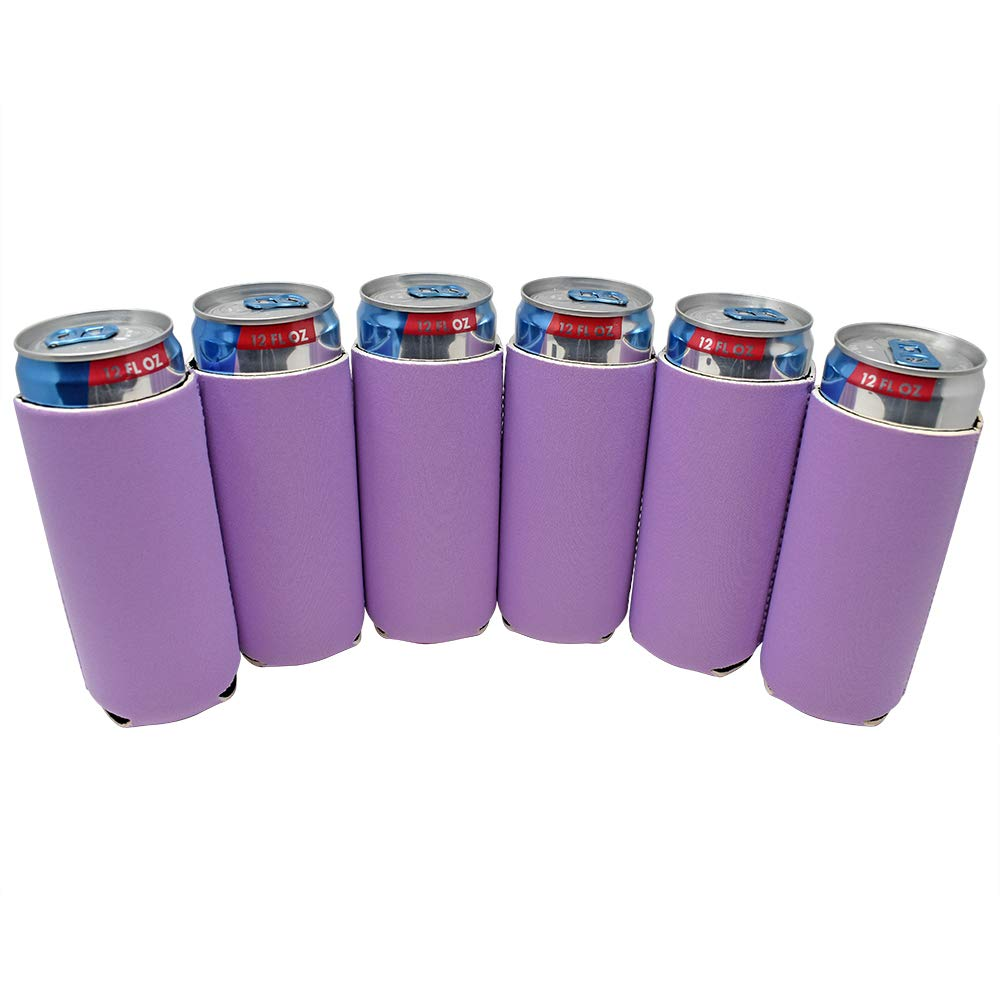 TahoeBay 6 Slim Can Sleeves - Blank Neoprene Beer Coolers – Compatible with 12oz RedBull, Michelob Ultra, White Claw Spiked Seltzer (Lavender, 6)
