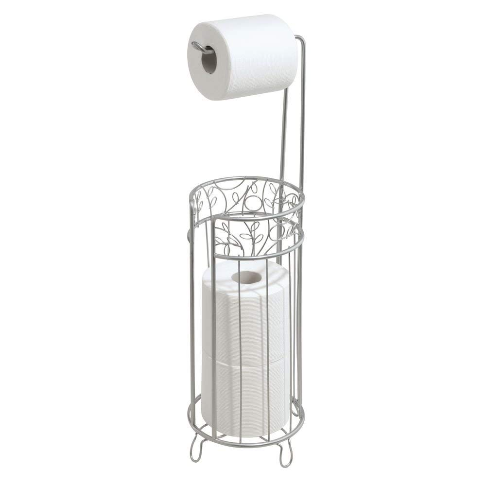 iDesign Twigz Metal Toilet Tissue Roll Reserve Organizer for Bathroom, Compact Organizer, Holds 4 Rolls of Toilet Paper, Silver