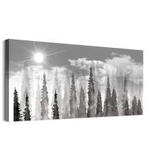 Large Wall Decor for living room Canvas Wall art for bedroom Black and white Abstract forest scenery paintings modern Posters Canvas art Prints Ready to Hang Pictures Artwork for Home Decoration