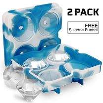 Ice Cube Trays with Lids, Diamond-Shaped Silicone BPA-Free (2-pack)
