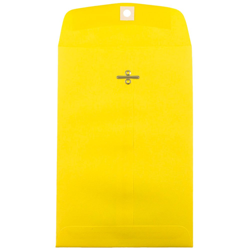 JAM PAPER 6 x 9 Open End Catalog Colored Envelopes with Clasp Closure - Yellow Recycled - 100/Pack