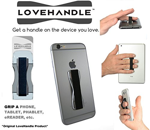 LoveHandle Universal Grip for Smartphone and Mini Tablet - Chrome Colored Base with Black Elastic Strap