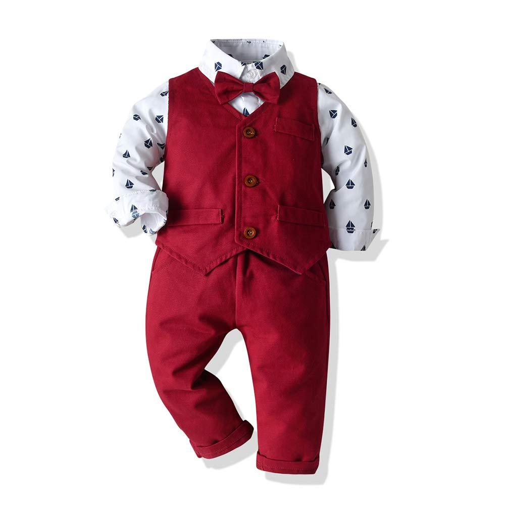 Tem Doger Baby Little Boys Outfit Shirt Bowtie Vest Suspender Pants Shorts Set 6mos.-6T