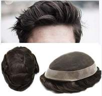 """LYRICAL HAIR Toupee For Men Human Hair Undetectable French Lace Mens Replacement System Grey Black Brown Ash Blonde Poly Skin Around Mens Wig Hairpieces (7X9"""", #1B10 1B# OFF BLACK WITH 10% SYNTHETIC GREY)"""