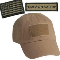 Gadsden and Culpeper Operator Cap Bundle w/USA & Molon Labe Patches (Tan)