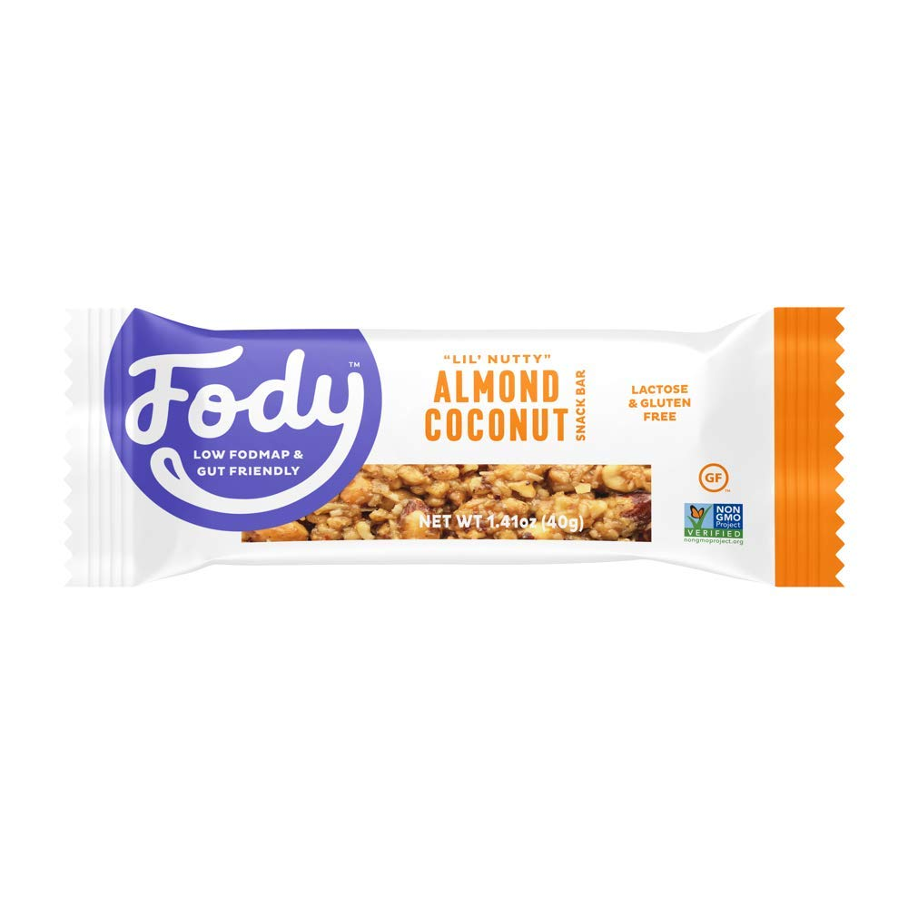 Fody Foods Vegan Protein Nut Bars | 8g Protein Snack Bar | Low FODMAP Certified | Gut Friendly IBS Friendly Snacks | Gluten Free Lactose Free Non GMO | Almond and Coconut Bars, 6 Count