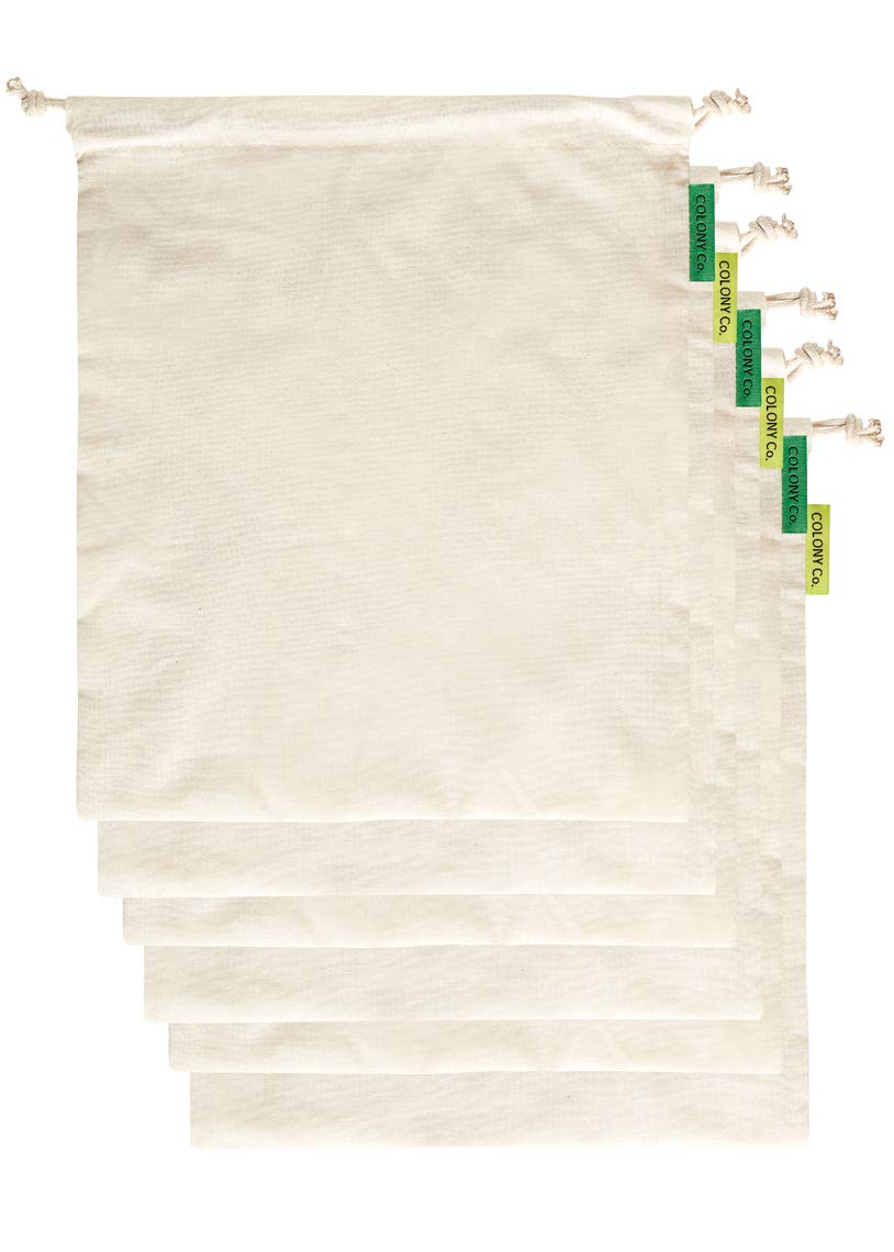 Colony Co. Reusable Bulk Food Bags, Set of 6 - Size Medium, Certified Organic Cotton, Tare Weight Label, Washable, Double-Drawstring Design, Packaging is Plastic-Free and Recyclable, Zero Waste
