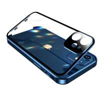 HENGHUI Anti-Peeping Case with Safety Locks for iPhone 12 Pro Max Glass Case Double Sided Glass with Camera Lens Protector Aluminum Bumper Case 360 Full Body Privacy Screen Protector (12ProMax, Blue)