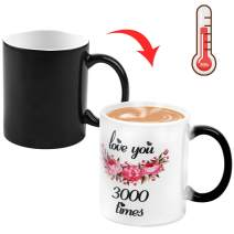 12OZ LOVE YOU 3000 TIMES Color Changing Mug, COAWG Ceramic Magic Heat Sensitive Changing Coffee Mug Novelty Coffee Tea Unique Design Gift Birthday Anniversary Mother`s Father`s Day