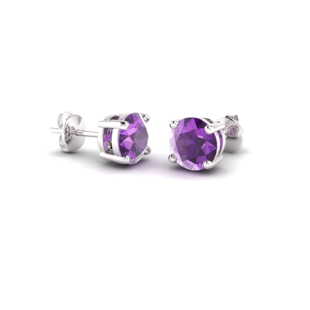 Diamondere Natural and Certified Gemstone Solitaire Stud Earrings in 14K White Gold | 0.85 Carat Earrings for Women