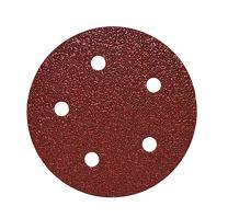 "Mercer Industries 5785180 Hook & Loop Red Heavyweight Disc, Aluminum Oxide, 5"" x 5 Dust Holes, Grit 180E, 50 Pack"