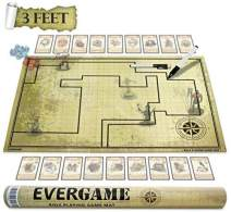 EVERGAME Reusable DND Mat for Usage with Dungeons and Dragons Board Game, Starter Kits, dm Screen, Game Mat, DND Battle mat, DND maps, Game Grid - 2 Black Markers Included